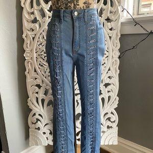 Fashion Nova lace front denim jeans sz 9